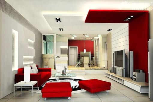 Красный на белом фоне в интерьере