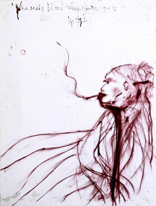 Автопортрет Кейт Мосс паписан красной помадой и кровью