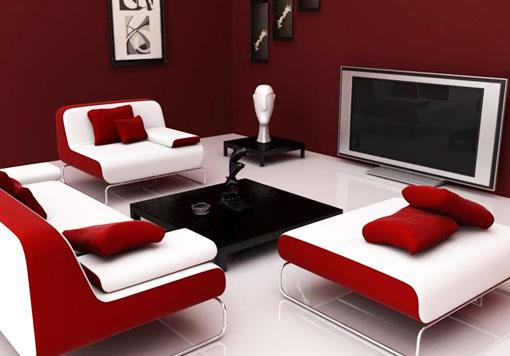 Тёмно-красный цвет в гостиной