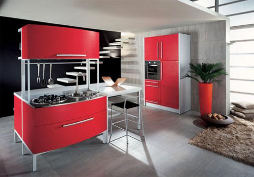 Дизайн кухни красного цвета