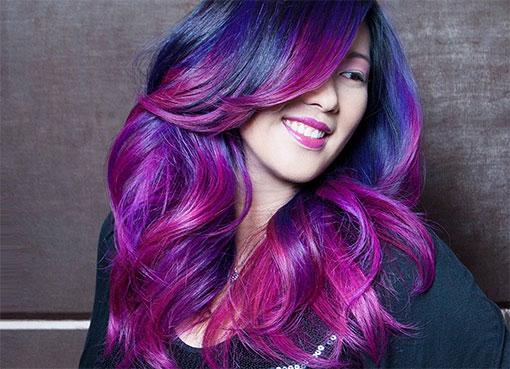 Красно-синийцвет волос