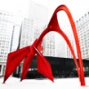 Самая известная красная скульптура Александра Колдера «Фламинго», установленная в Чикаго