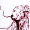 Продан кровавый автопортрет Кейт Мосс, написанный кровью и красной губной помадой