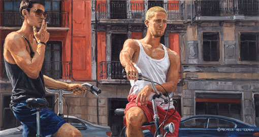 Красный цвет в жизненных картинах маслом итальянского художника Микеле Де Кампо