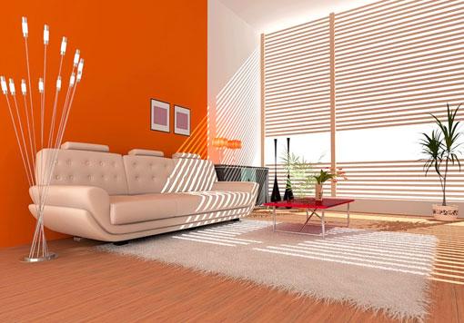 Красно-оранжевый оттенок в гостиной