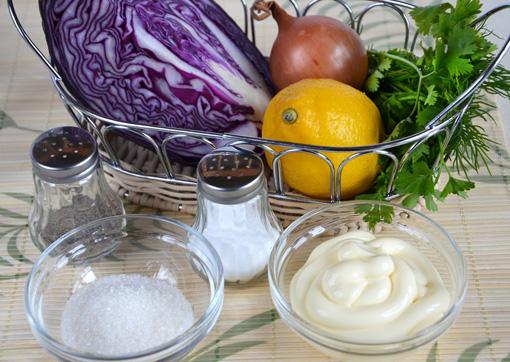 Продукты для приготовления салата из краснокачанной капусты