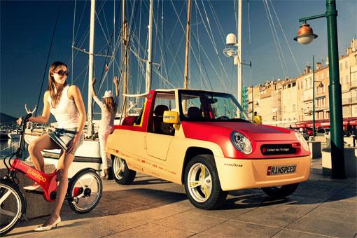 Первый в мире красный пляжный интернет-автомобиль Rinspeed BamBoo компании Harman